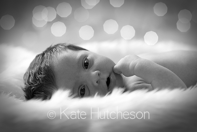 newborn baby looking at camera on fuzzy blanket Nashville Photography